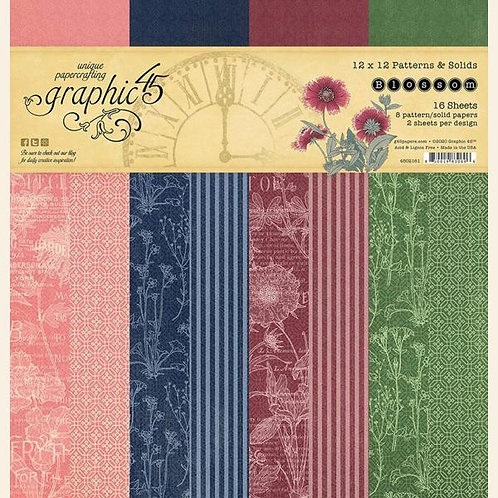 Graphic 45 Blossom 12x12 Patterns & Solids Pad