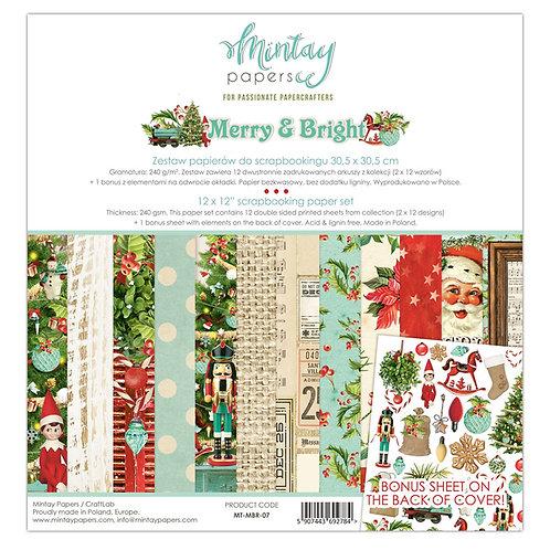 Mintay's  Merry & Bright 12 X 12 Paper Set