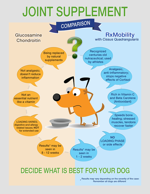 RxMobility canine joint formula comparison with glucosamine chart