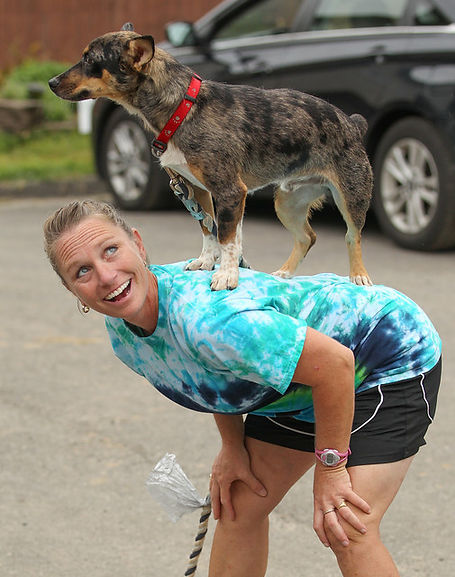 RxMobility friend Sally Zinkhan with one of her competition dogs