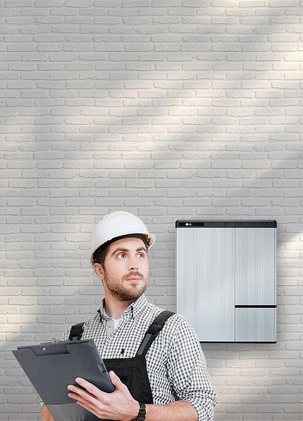 Installer standing infront LG RESU10H