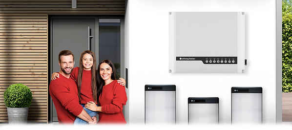 LG red family standing next to LGES-5048 inverter and LG RESU's