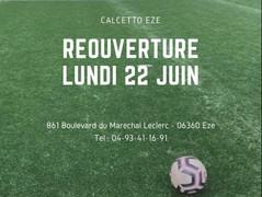 Calcetto Eze - Réouverture Lundi 22 Juin