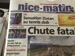 Zlatan au club en 1ère page de Nice-Matin