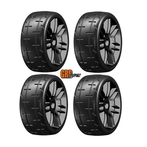 GRP GTX02-S5 GT T02 Slick S5 Medium Mounted Belted Tires (4) 1/8 Buggy BLACK
