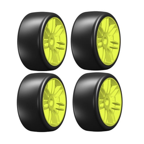 GRP GTY02-S5 GT T02 Slick S5 Medium Mounted Belted Tires (4) 1/8 Buggy Yellow