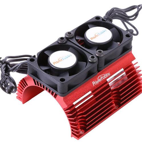 Powerhobby *RED* Heat Sink w Twin Turbo High Speed Cooling Fans 1/8 Motors