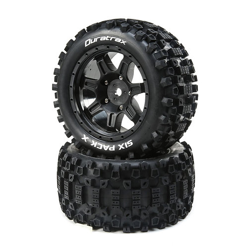 Duratrax Six Pack X Belted Mounted Tires, 24mm Black (2) (DTXC5502)