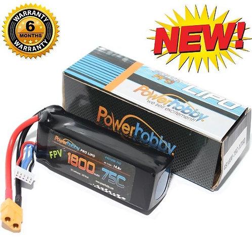 Powerhobby 4S 14.8V 1800mAh 75C w XT60 Plug : Drone / Quad Lipo Battery