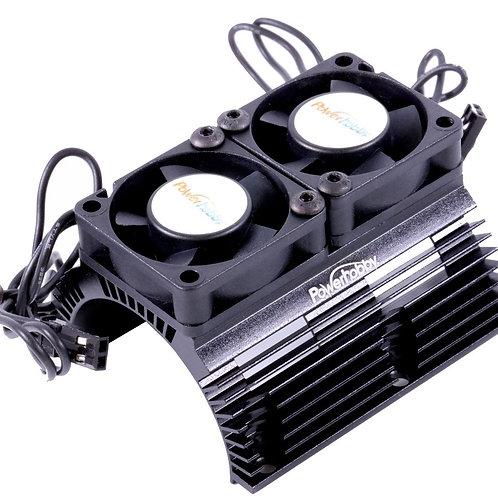 Powerhobby *BLACK* Heat Sink w Twin Turbo High Speed Cooling Fans 1/8 Motors