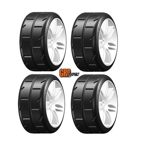 GRP GTH01-S5 GT T01 REVO S5 Medium Belted Tires / Wheels (4) 1/8 Buggy WHITE