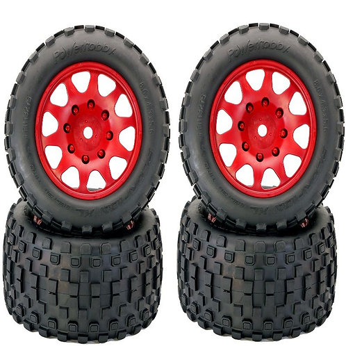 Powerhobby SCORPION XL Belted Tires / Viper Wheels (4) Traxxas X-Maxx 8S RED LES