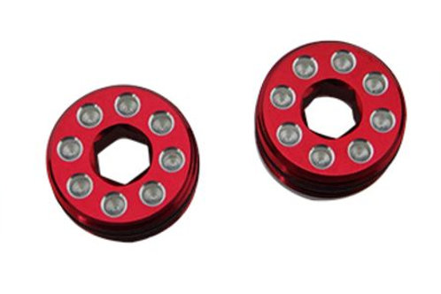 HOT RACING AON21N02 Aluminum Delrin Cap Hub Nut with O-Ring Red Arrma 1/8