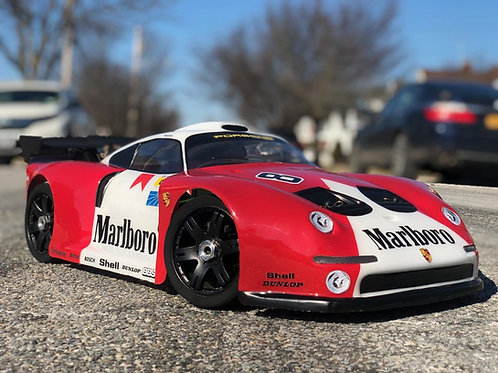 PORSCHE GT2 360mm/2mm Rc Car Body*Drag or Speed Runs*