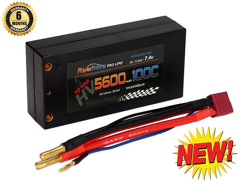 Powerhobby 2s 7.6V 5600mah 100c HV Shorty Lipo Battery with Deans
