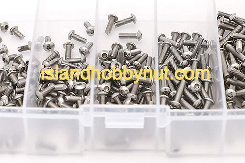 FOH 250 Pcs M3 x 6mm/8mm/10mm/12mm/16mm Stainless Steel Button Head Screw Kit