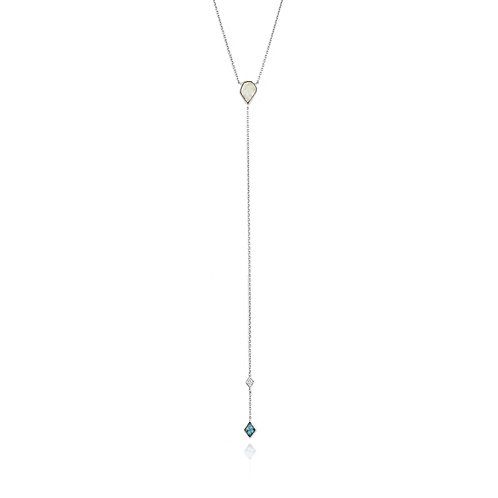 Ania Haie Sterling Silver Simulated Opal & Sim. Turquoise Necklace