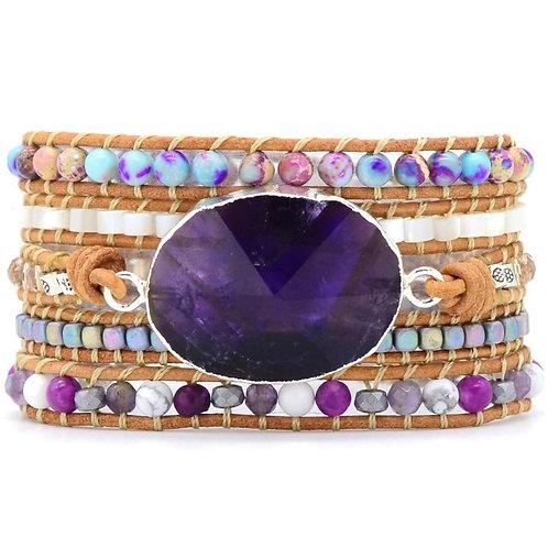 Pueblo Vista Amethyst Silver Protection Wrap Bracelet