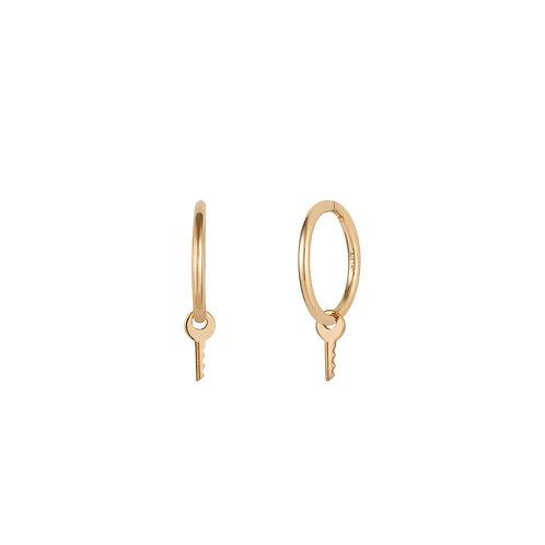 GINA | Key Charm Hoop Earrings