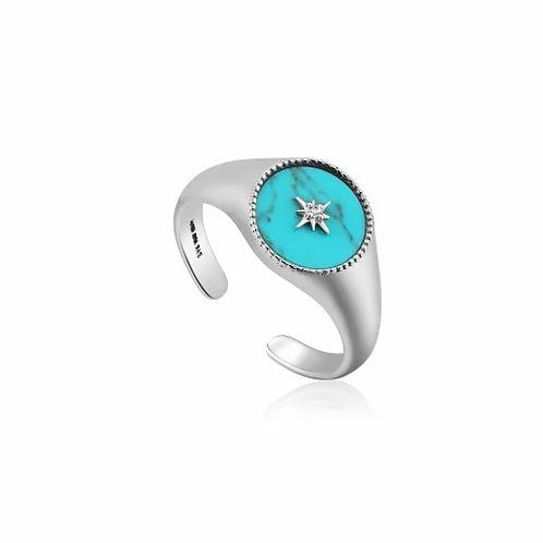 Silver Turquoise Emblem Signet Ring