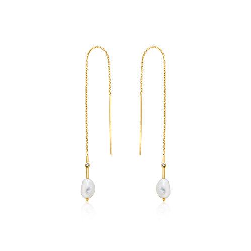 Gold Pearl Threader Earrings