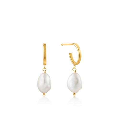 Gold Pearl Mini Hoop Earrings