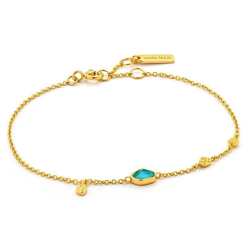 Ania Haie Turquoise Color Discs Bracelet, Gold Plate