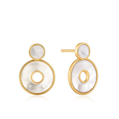 Gold Mother Of Pearl Disc Ear Jackets