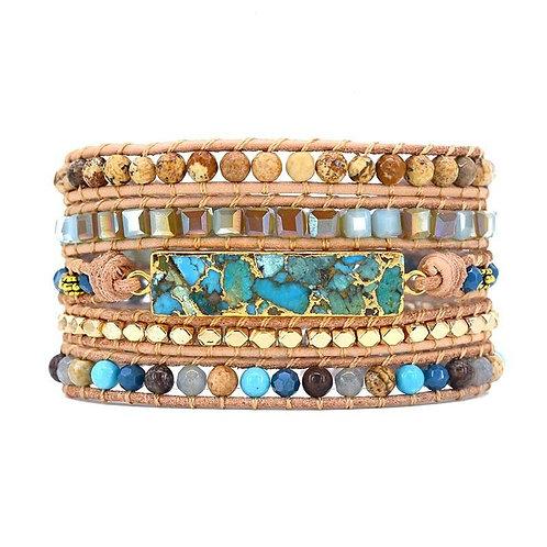 Pueblo Vista Golden Ocean Turquoise Wrap Bracelet