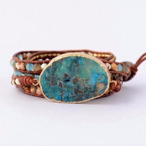 Pueblo Vista Blue Earth Jasper Stone Bracelet