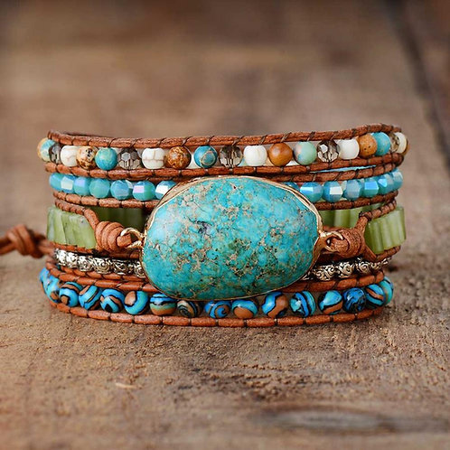 Pueblo Vista Twisted Ocean Jasper Wrap Bracelet
