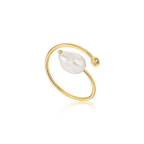 Ania Haie Gold Pearl Twist Ring