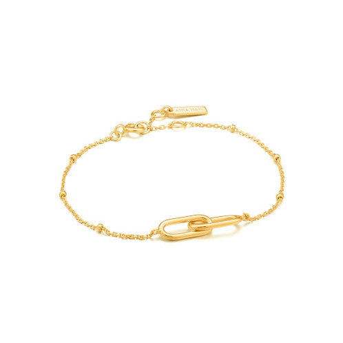 Gold Beaded Chain Link Bracelet