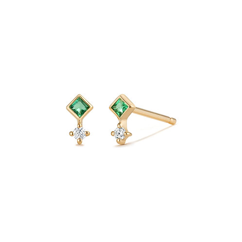 EMMIE |  Emerald and Diamond Studs