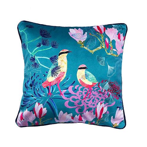Shimmer Velvet Cushion – Songbirds