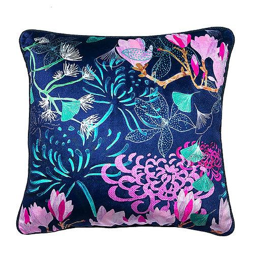 Shimmer Velvet Cushion – Emerald Midnight Florals