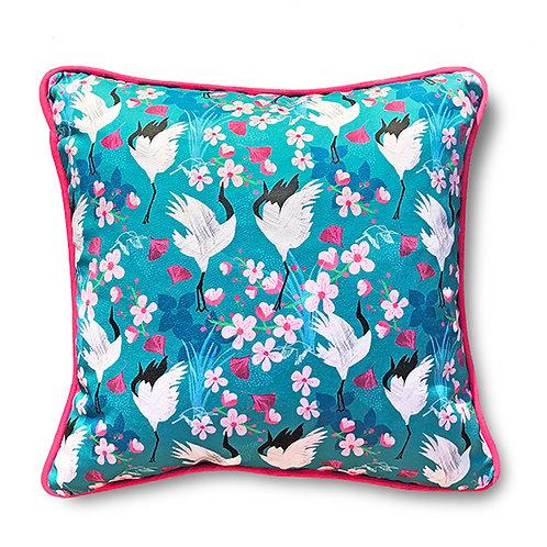 Crane & Blossom Cushion – Fushia Piping