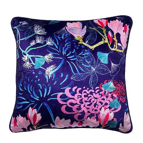 Shimmer Velvet Cushion – Midnight Florals