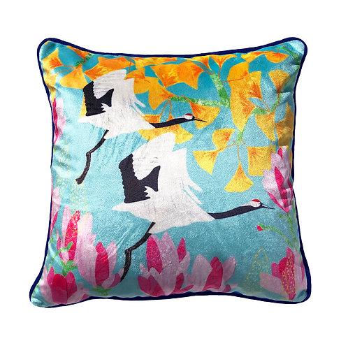 Shimmer Velvet Cushion – Red Crowned Cranes, Ginkgo & Magnolia