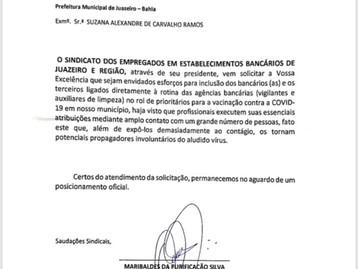 Sindicato dos Bancários de Juazeiro solicita  a prefeitura de Juazeiro prioridade em Plano de Vacina