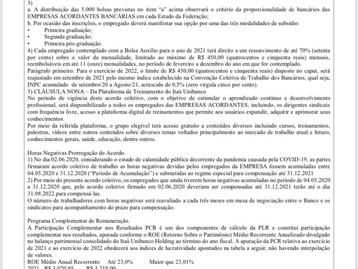 Atenção Bancários - Confira o resumo do Acordo do Banco Itaú-Unibanco
