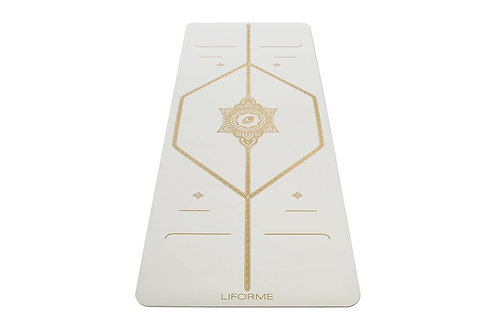 LIFORME 'WHITE MAGIC' YOGA MAT - WHITE & GOLD