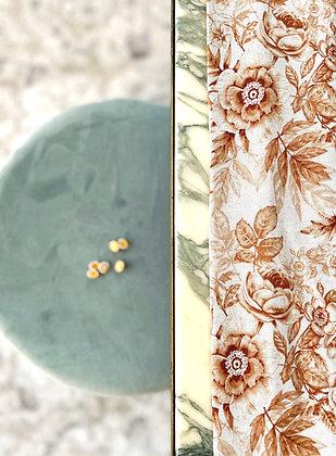 Tissu lin viscose fleuri # Ocre