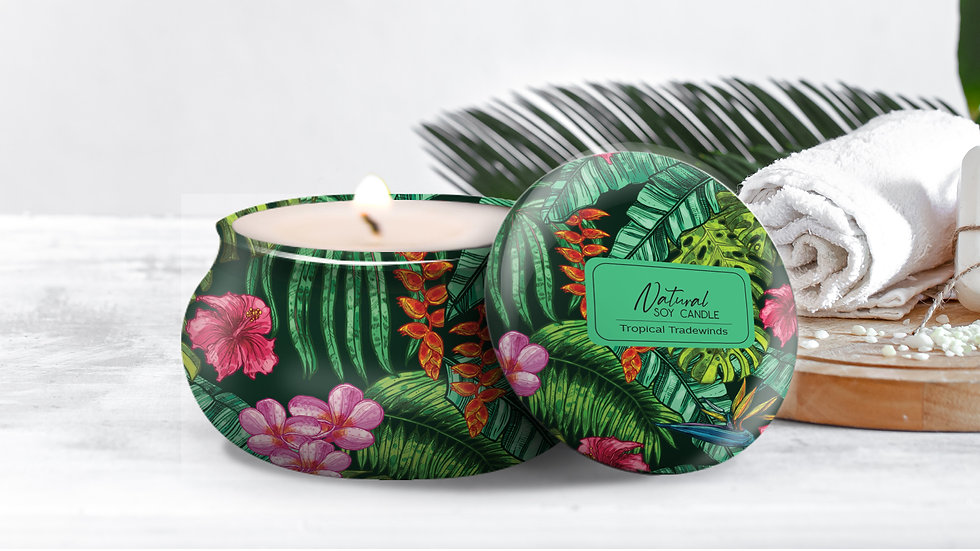 """100% Natural Soy Tropical Tin Candle """"TROPICAL TRADEWINDS"""""""