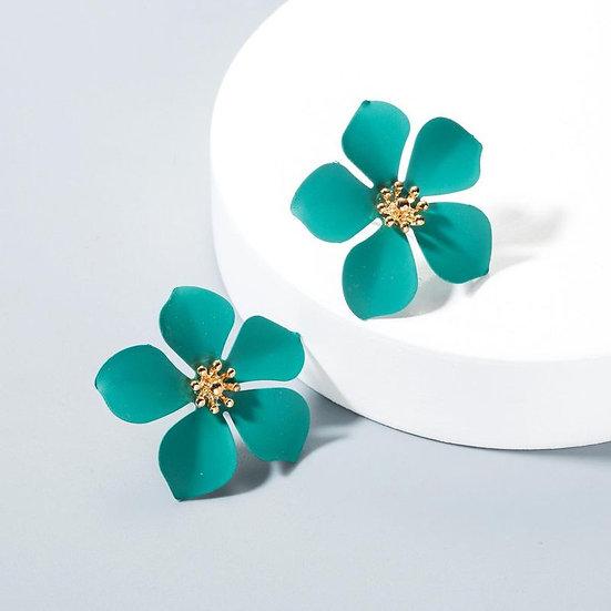 Green Flower Shaped Earring