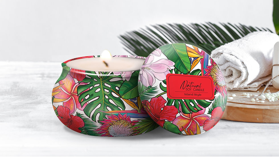 """100% Natural Soy Tropical Tin Candle """"ISLAND STYLE"""""""