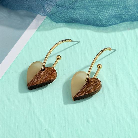 White and Wood Heart Shaped Earrings