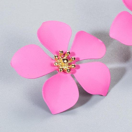 Pink Flower Shaped Earrings