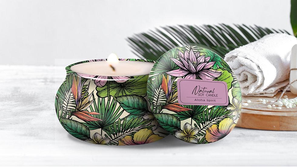"100% Natural Soy Tropical Tin Candle ""ALOHA SPIRIT"""