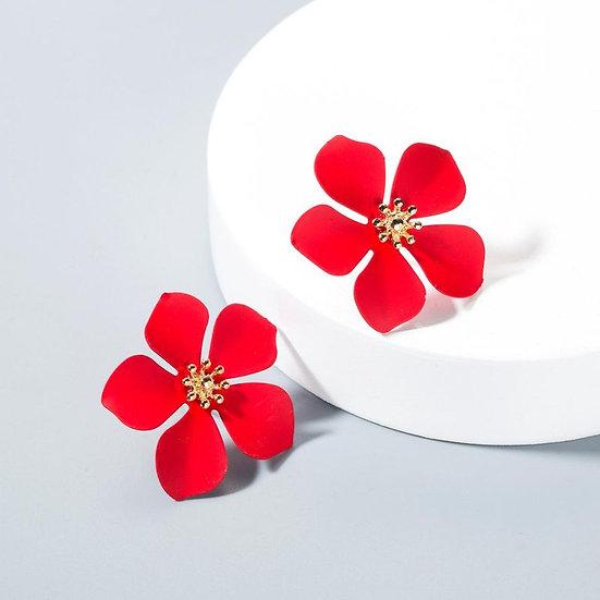 Red Flower Shaped Earrings